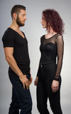 Urban. Couple posing in contemporary outfits Royalty Free Stock Image