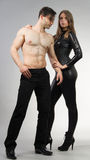 Urban. Couple posing together in urban attire royalty free stock images