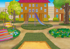 Urban courtyard. Beautiful urban courtyard with playground Stock Images
