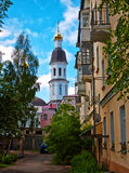 Urban courtyard with views of the bell tower. Arkhangelsk in Northern Russia Royalty Free Stock Photo