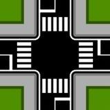 Urban crossroad with crosswalks Stock Images