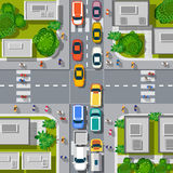 Urban crossroads with cars Royalty Free Stock Photos
