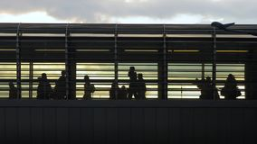 Urban crowd on an overpass. People rushing at a station in 60 FPS stock footage