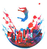 Urban dancer. Colorrful planet and active man jumping over Stock Image