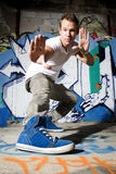 Urban dancer showing off shoes Stock Images