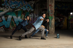 Urban dancers showing some moves Royalty Free Stock Image