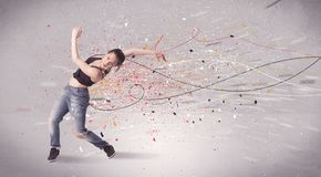 Urban dancing with lines and splatter Stock Photo
