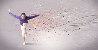 Urban dancing with lines and splatter Royalty Free Stock Images