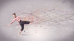 Urban dancing with lines and splatter Stock Photos