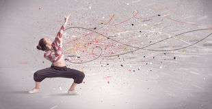 Urban dancing with lines and splatter Royalty Free Stock Photography