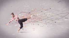 Urban dancing with lines and splatter Royalty Free Stock Photo
