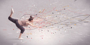 Urban dancing with lines and splatter Stock Photography