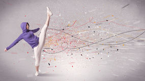 Urban dancing with lines and splatter Royalty Free Stock Photos