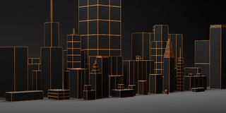 Urban dark abstract background, futuristic city panorama. 3d illustration. Urban dark abstract background, futuristic black city panorama. 3d illustration vector illustration