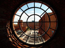 Urban dating-Manufaktur. The historic window on the empire factory in Lodz Stock Photos