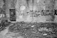 Urban decay. Black and white landscape Royalty Free Stock Images