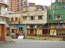 Urban decay in La Boca, Buenos Aires. Favela closer to touristic zone. April,, 2103 Royalty Free Stock Photography