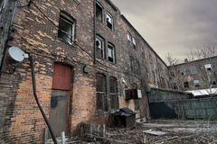 Urban Decay. An old run down brick building in an urban setting. Sadly these are seen frequently in American cites Royalty Free Stock Photos