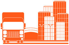 Urban delivery sign with lorry. Urban delivery sign with city and red lorry Stock Photography