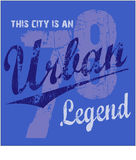 Urban design. Grunge urban design with the text This City Is An Urban Legend and the number 78.  Design in white, gray and dark blue, on a blue background Stock Images