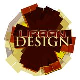 Urban design abstraction. Vector typography. Brown,red and yellow urban design geometric abstraction. Vector graphic typography Stock Photography