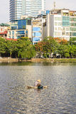 Urban development capital Hanoi with large beside lakes skyscraper architecture at West Lake Royalty Free Stock Photos