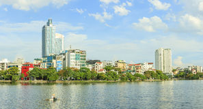 Urban development capital Hanoi with large beside lakes skyscraper architecture at West Lake. Hanoi, Vietnam stock photo
