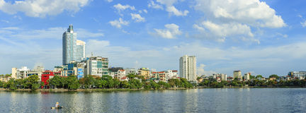 Urban development capital Hanoi with large beside lakes skyscraper architecture at West Lake. Hanoi, Vietnam royalty free stock images