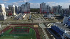 Urban development. Footage. Residential area Academic, new buildings. Ekaterinburg, Russia. Shooting from the air by a. Flying camera stock footage
