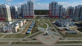 Urban development. Footage. Residential area Academic, new buildings. Ekaterinburg, Russia. Shooting from the air by a. Flying camera stock video