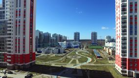 Urban development. Footage. Residential area Academic, new buildings. Ekaterinburg, Russia. Shooting from the air by a. Flying camera stock video footage