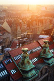 Urban development of the Wroclaw city at sunset, Poland Royalty Free Stock Images