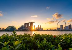 Urban downtown business buildings area at sunset in Singapore. Singapore is a world famous tourist city royalty free stock photo