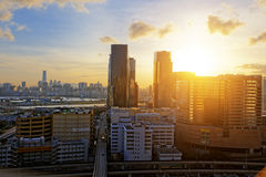 Urban downtown city at sunset, Stock Photography