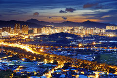 Urban downtown at sunset moment, Hong Kong Stock Photography