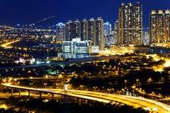 Urban downtown at sunset moment, Hong Kong Stock Photos
