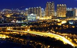 Urban downtown at sunset moment, Hong Kong Royalty Free Stock Images