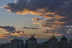 Urban dramatic sunset in HDR Stock Photos