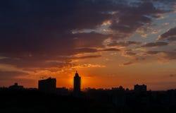 Urban dramatic sunset Stock Photography