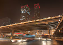 Urban dynamism Beijing downtown at nighttime, China Stock Image