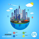 Urban earth concept. Vector illustration Royalty Free Stock Image