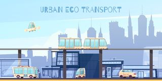 Urban Eco Transport Cartoon Illustration Royalty Free Stock Photography