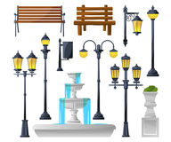 Urban elements set. Street lamps, fountain, park benches and wastebaskets. Vector illustration royalty free illustration