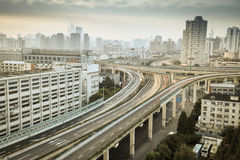 Urban elevated road  in the early morning Stock Photography
