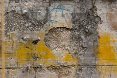 Eroded concrete wall 0500 royalty free stock photography