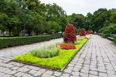 Urban Esplanade park in center of Riga. Travel to Latvia - urban Esplanade park in center of Riga city in september Stock Photos