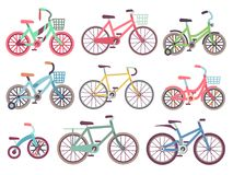 Urban family bikes flat vector set. Different bicycles collection. Urban bike and sport transport for family, transportation bicycle illustration Royalty Free Stock Photography