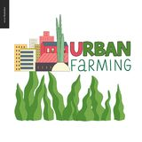 Urban farming and gardening logo. Urban farming, gardening or agriculture logo. Onion and city buildings behind Stock Photography