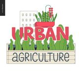 Urban farming and gardening logo. Urban farming, gardening or agriculture sign logo. A wooden seedbed with leaves of salad, a house on the background stock illustration