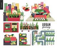 Urban farming and gardening set. Urban farming, gardening or agriculture set. Planting, harvest, wooden seedbeds, planting on rails, vertical farming and royalty free illustration